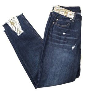 Embroidered Cropped Ankle Jeans Frayed Inset Size8